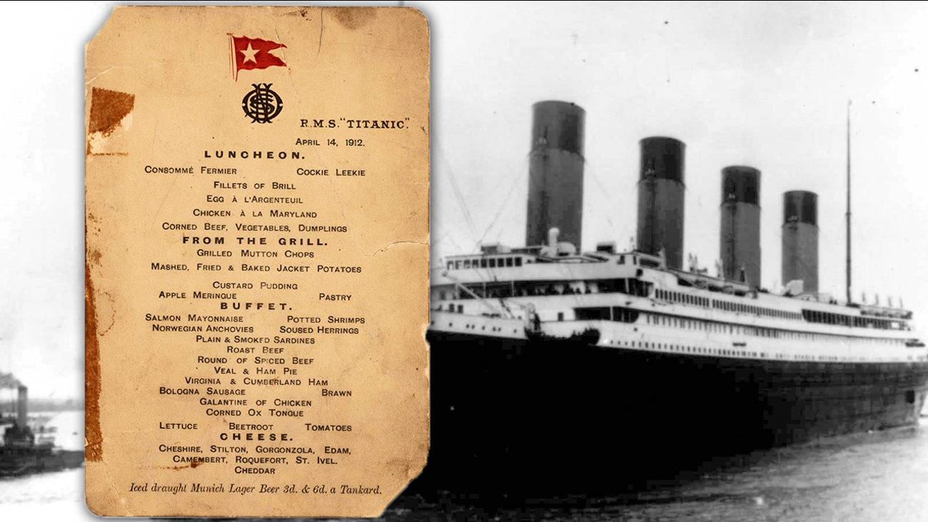 Titanic's last lunch menu