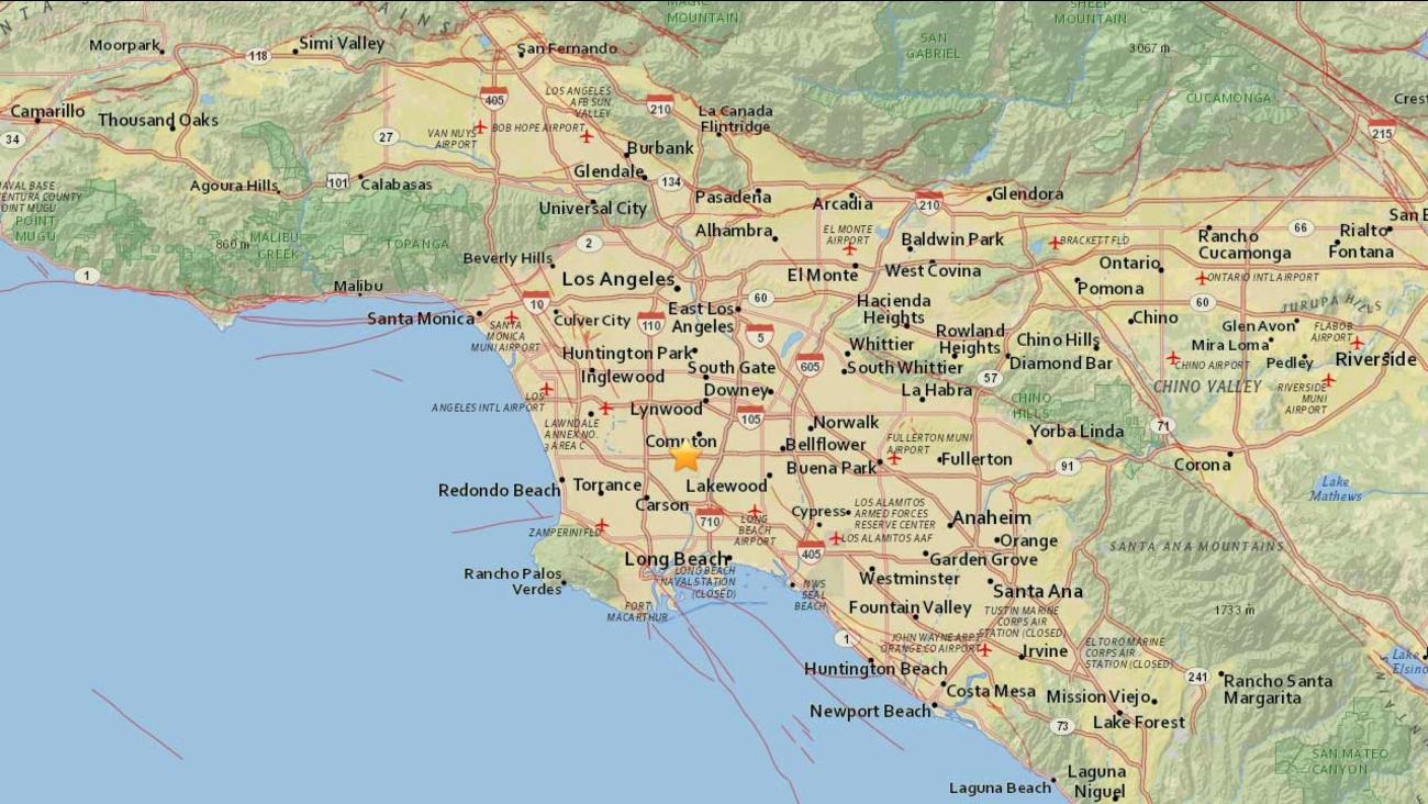 A 2.9-earthquake struck 2 miles southwest of Compton, Calif. on Monday, Aug. 31, 2015.