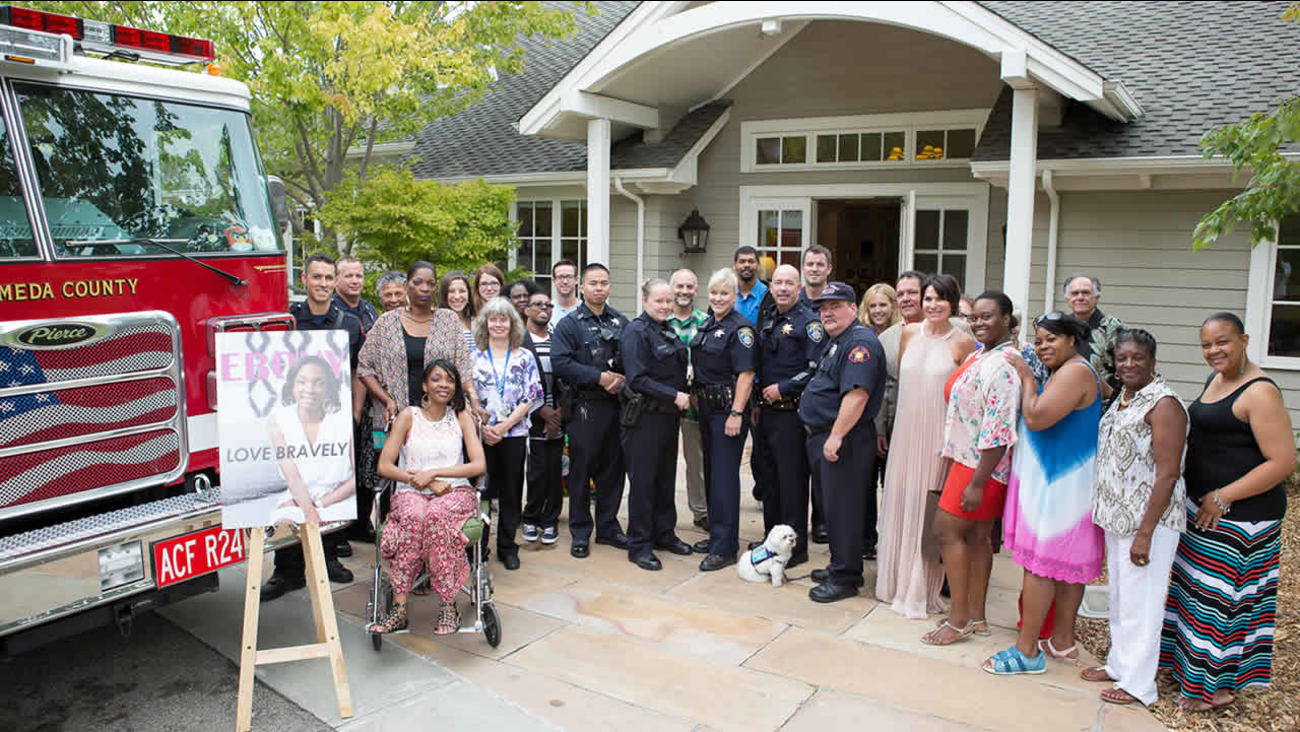Police and fire departments joined forces to wish Tashawna, who has a rare disease called Friedreich's ataxia, a happy birthday in San Leandro, Calif. on August 29, 2015.