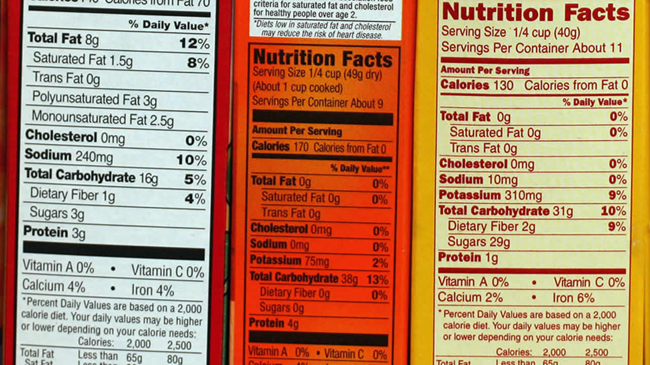 Various nutritional information labels are shown in this May 17, 2007 photo.  (AP Photo/Larry Crowe)