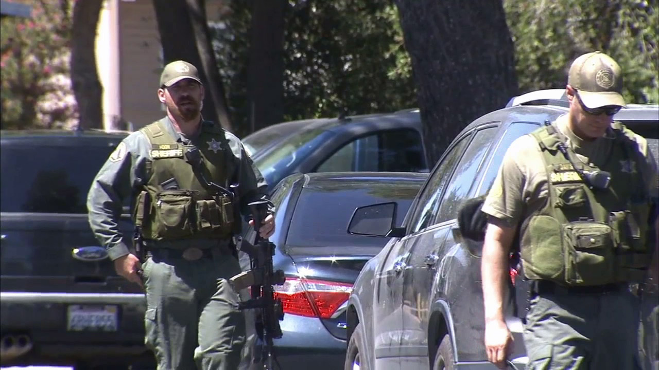 A SWAT team responded to a mobile home park in Perris to search for an armed robbery suspect on Monday, Aug. 31, 2015.