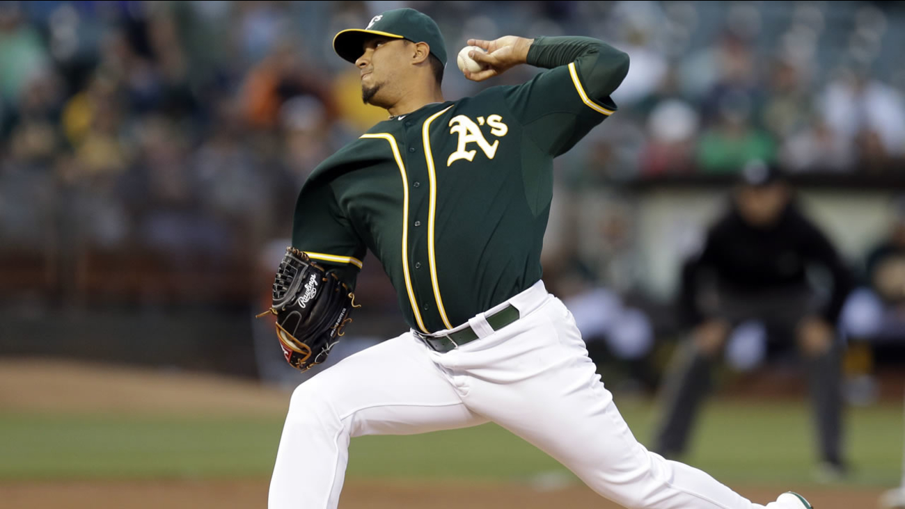 Oakland Athletics' pitcher Felix Doubront works against the Los Angeles Angels in the first inning of a baseball game Monday, Aug. 31, 2015, in Oakland, Calif.