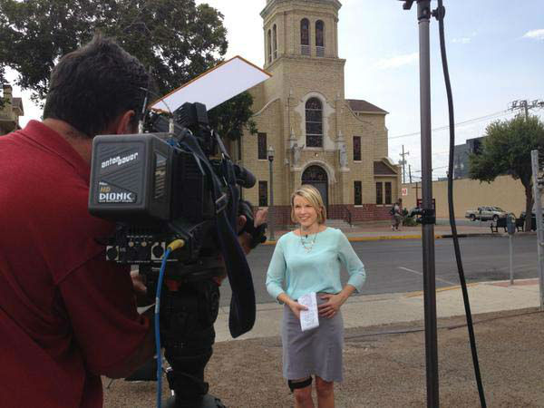 """<div class=""""meta image-caption""""><div class=""""origin-logo origin-image none""""><span>none</span></div><span class=""""caption-text"""">Kaitlin McCulley in front of the McAllen church that spoke to the Pope via satellite (KTRK Photo)</span></div>"""