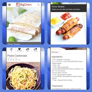 'Big Oven' app for smart phones, with more than 350,000 recipes.