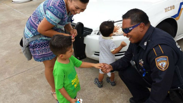 "<div class=""meta image-caption""><div class=""origin-logo origin-image none""><span>none</span></div><span class=""caption-text"">Jacob Castelan, 6, shakes the hand of Harris County Deputy Ticas at the site of the shooting of Deputy Goforth to thank him for his service. (HCN Photo)</span></div>"