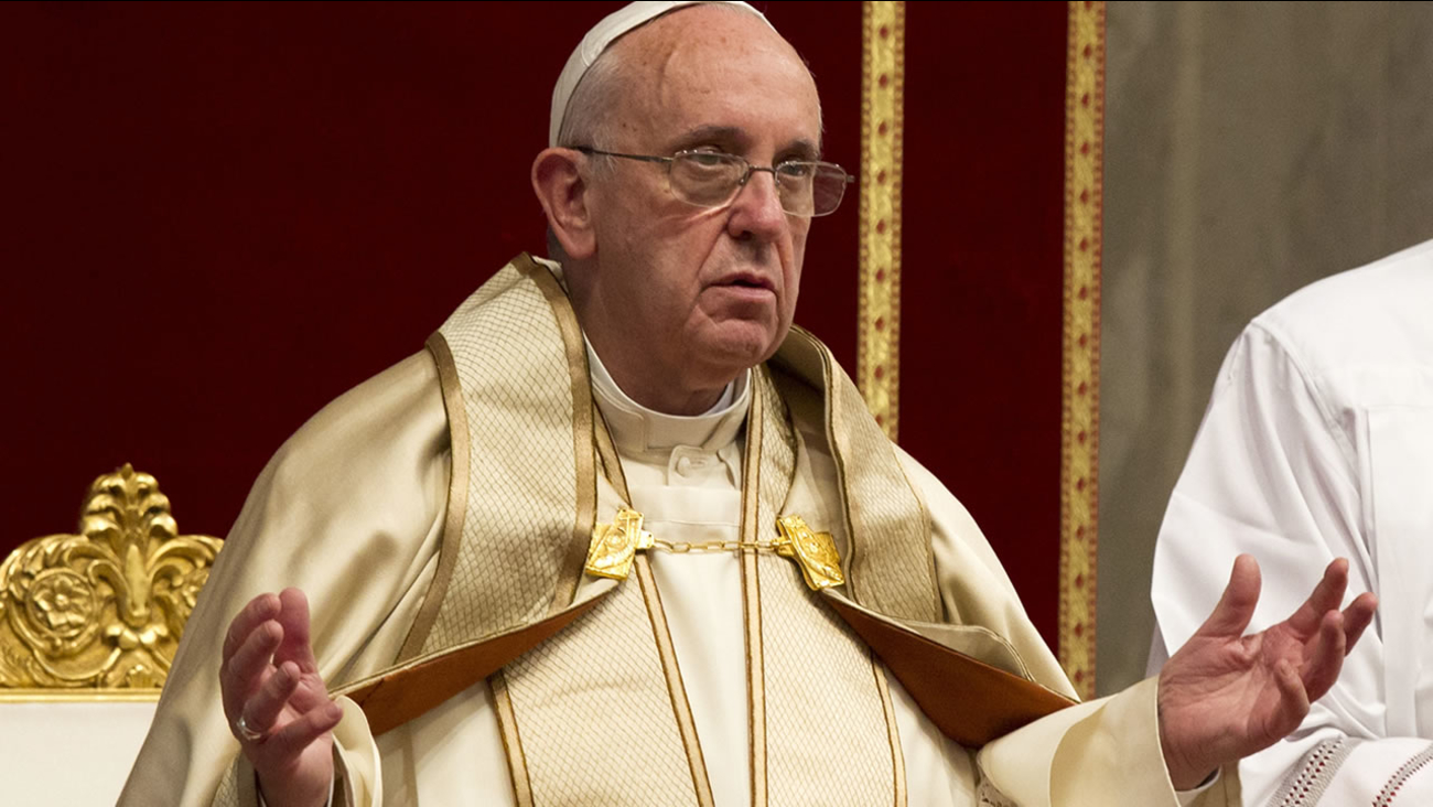 Pope Francis attends a prayer on the occasion of the World Day of the Creation's care in St. Peter's Basilica at the Vatican, Tuesday, Sept. 1, 2015. (AP Photo/Riccardo De Luca)