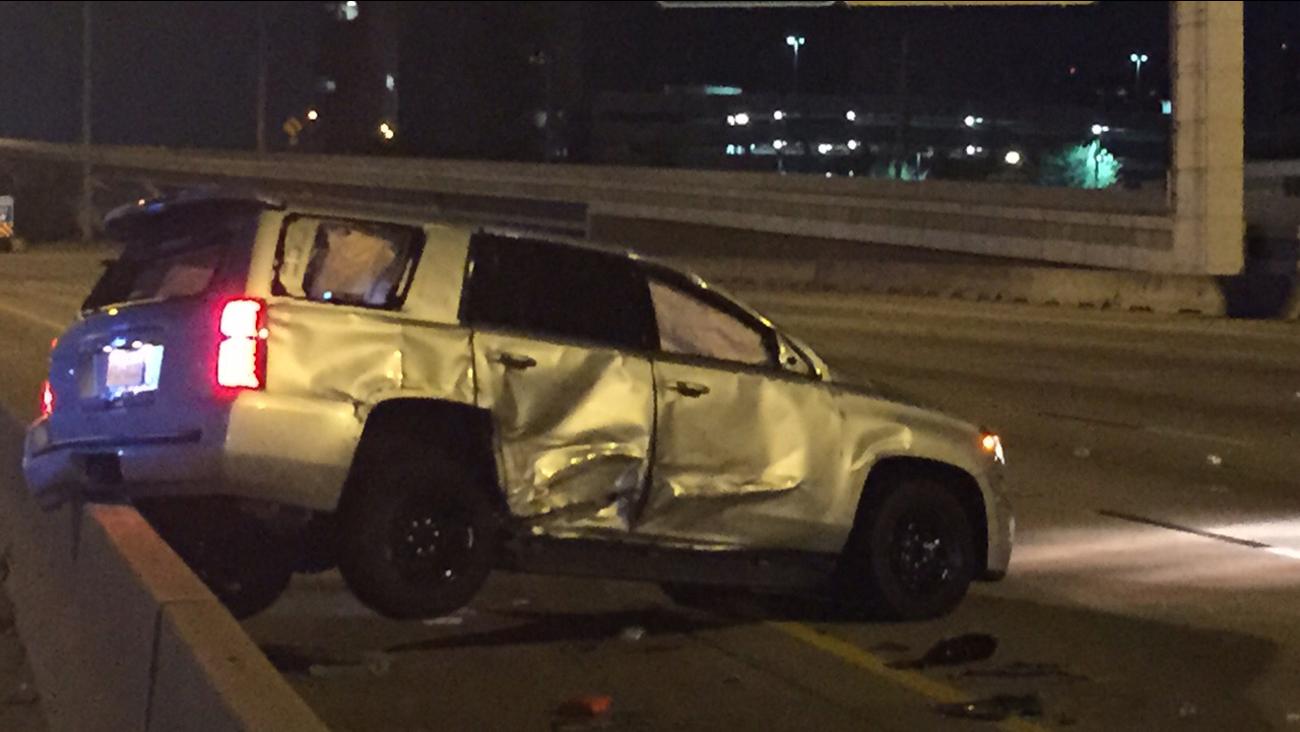 Damaged unmarked HSCO vehicle