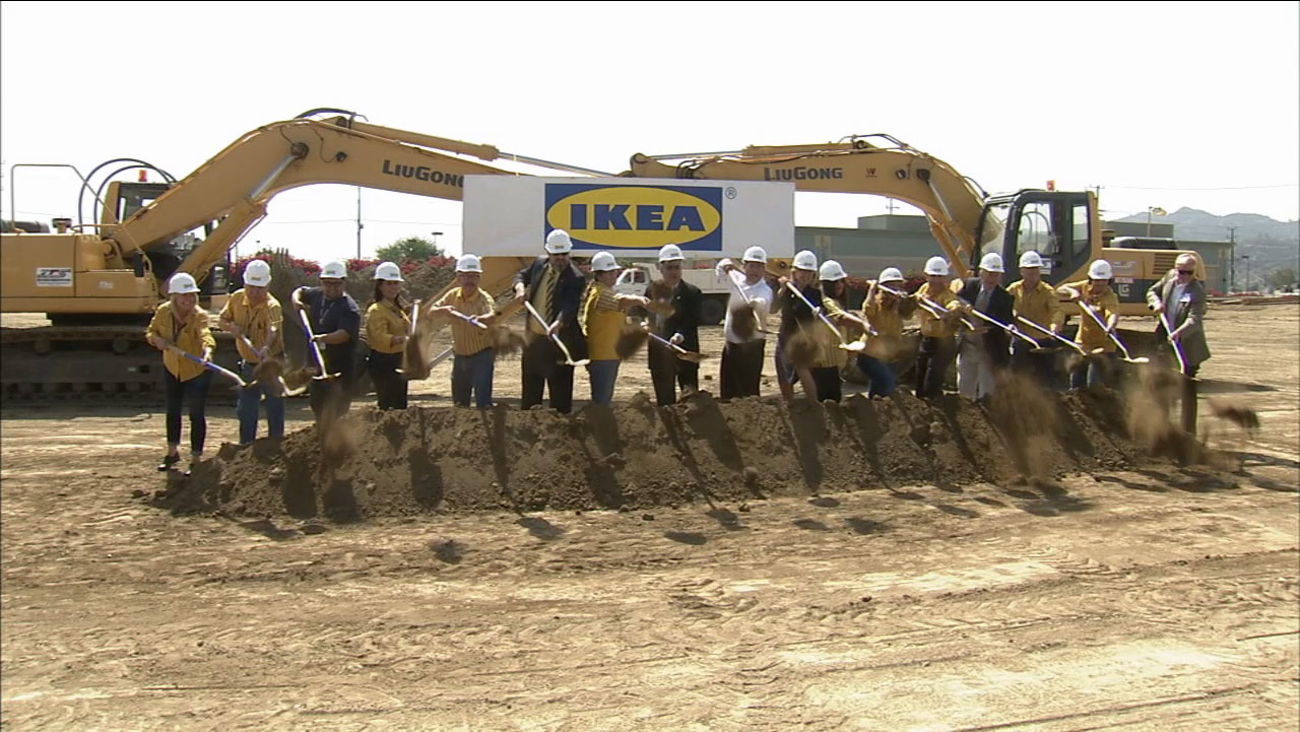 Ikea officials and Burbank city leaders break ground on a larger replacement store on Tuesday, Sept. 1, 2015.