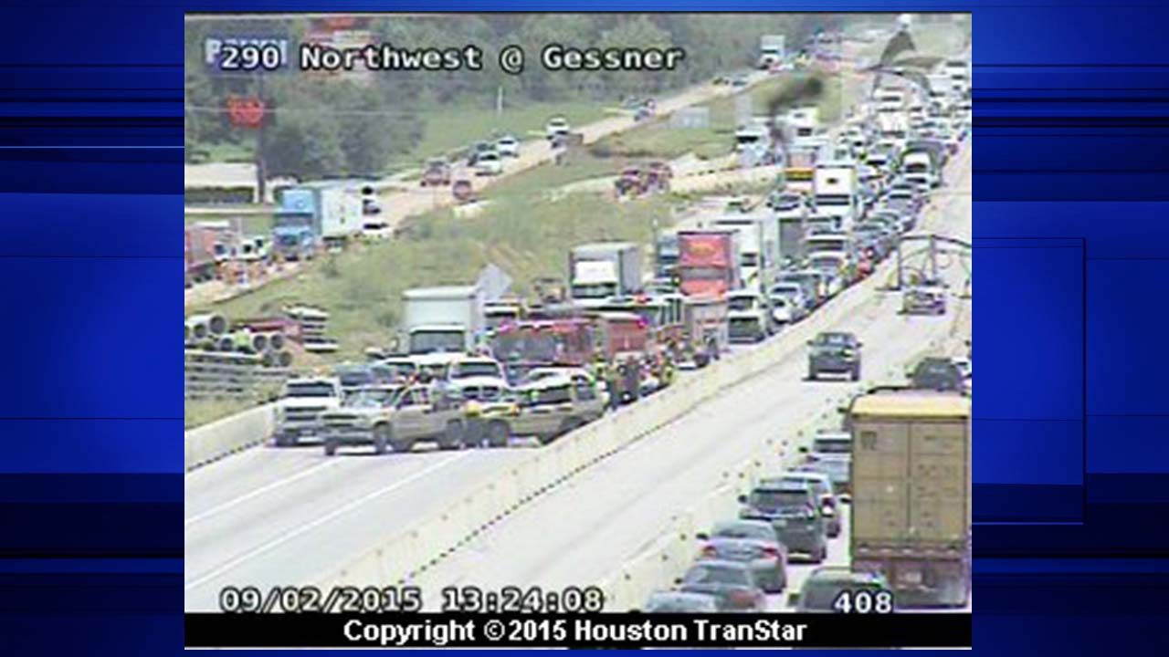 A two-vehicle accident seen on 290 Northwest from the perspective of the Gessner traffic camera
