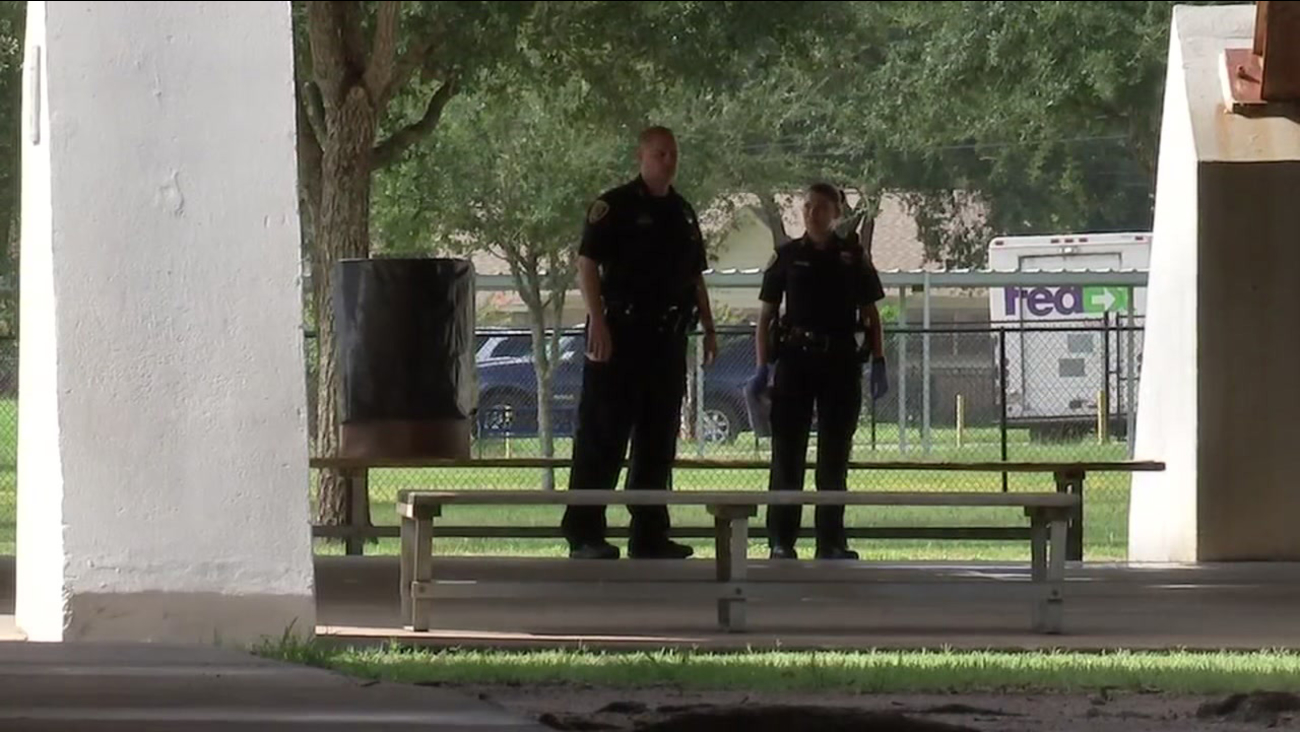 Houston police on the scene of the park attack this morning in southwest Houston