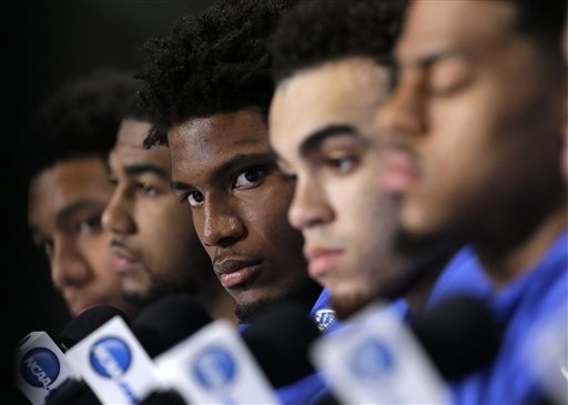 "<div class=""meta image-caption""><div class=""origin-logo origin-image none""><span>none</span></div><span class=""caption-text"">Duke's Justise Winslow, center, looks up during a news conference for the NCAA Final Four college basketball tournament championship game Sunday, April 5. (AP Photo/ David J. Phillip)</span></div>"