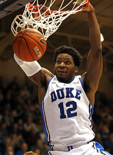 "<div class=""meta image-caption""><div class=""origin-logo origin-image none""><span>none</span></div><span class=""caption-text"">Duke's Justise Winslow dunks the ball during the second half of an NCAA college basketball game against the Presbyterian in Durham, N.C., Friday, Nov. 14. (AP Photo/ Karl B DeBlaker)</span></div>"