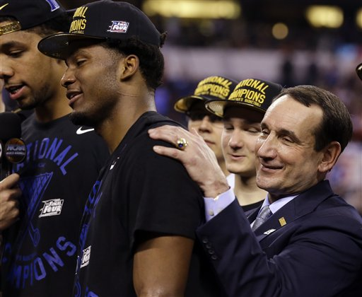 "<div class=""meta image-caption""><div class=""origin-logo origin-image none""><span>none</span></div><span class=""caption-text"">Duke head coach Mike Krzyzewski celebrates with Justise Winslow after their victory over Wisconsin in the NCAA college basketball tournament championship game April 6. (AP Photo/ Michael Conroy)</span></div>"