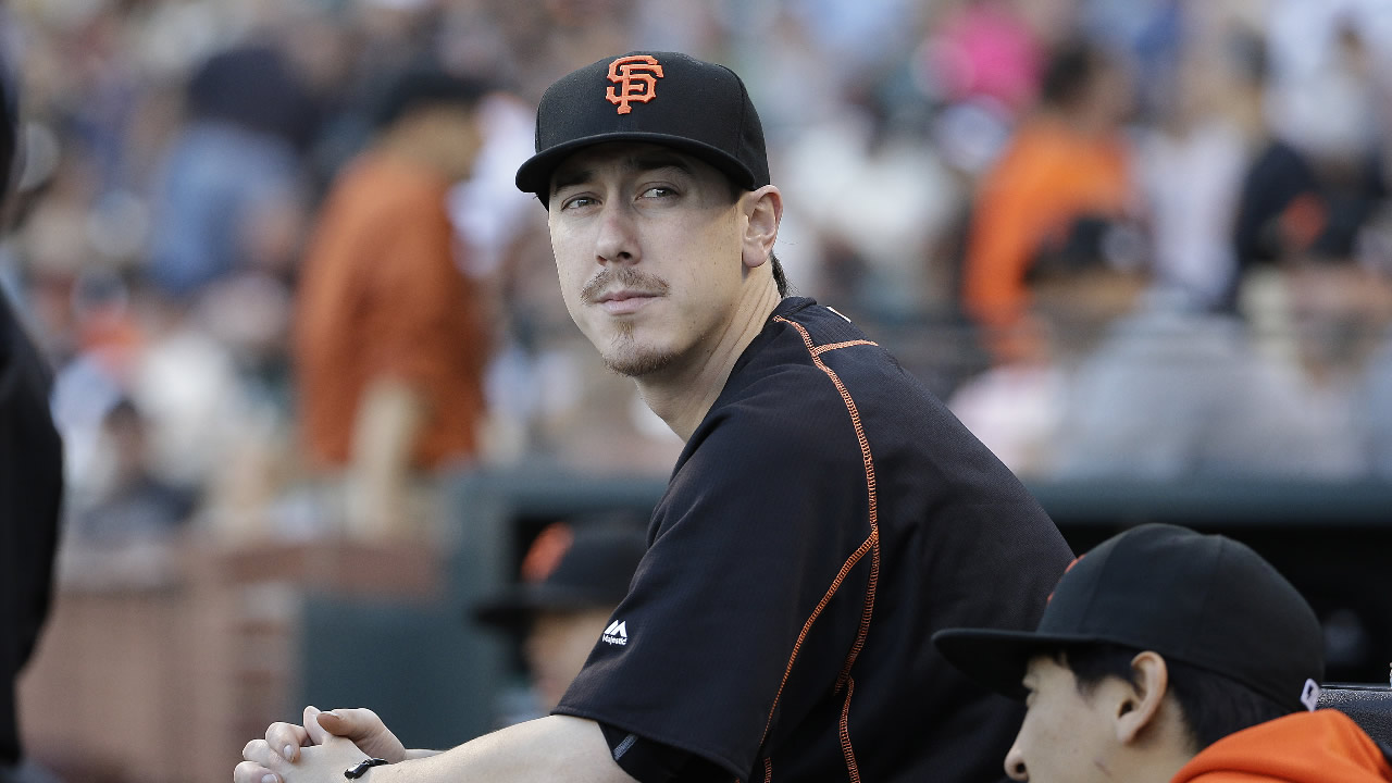 San Francisco Giants pitcher Tim Lincecum against the Milwaukee Brewers during a baseball game in San Francisco, Tuesday, July 28, 2015.