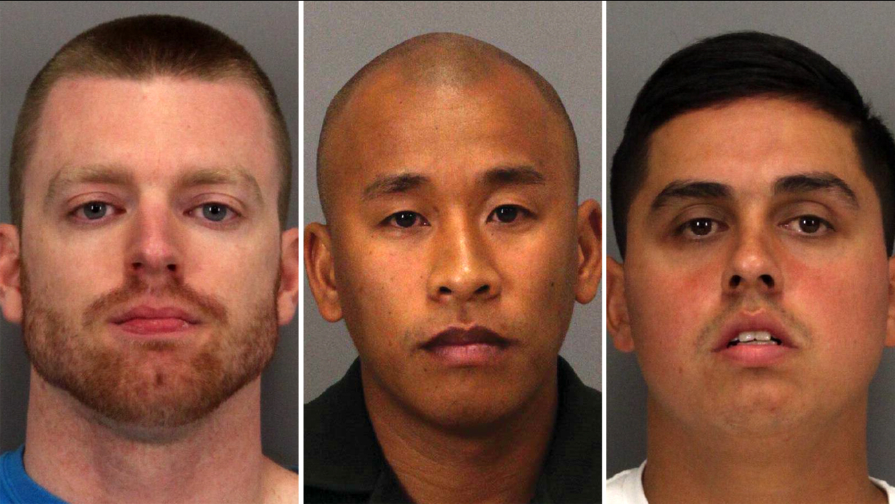 (Left to right) Santa Clara County Correctional Deputies Matthew Farris, Jereh Lubrin and Rafael Rodriguez.