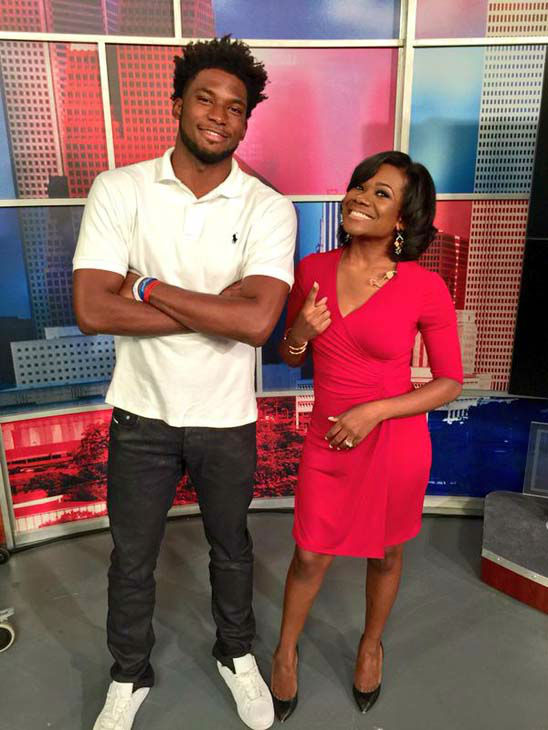 """<div class=""""meta image-caption""""><div class=""""origin-logo origin-image none""""><span>none</span></div><span class=""""caption-text"""">Samica Knight with Miami Heat player and Houston native Justise Winslow (KTRK Photo)</span></div>"""