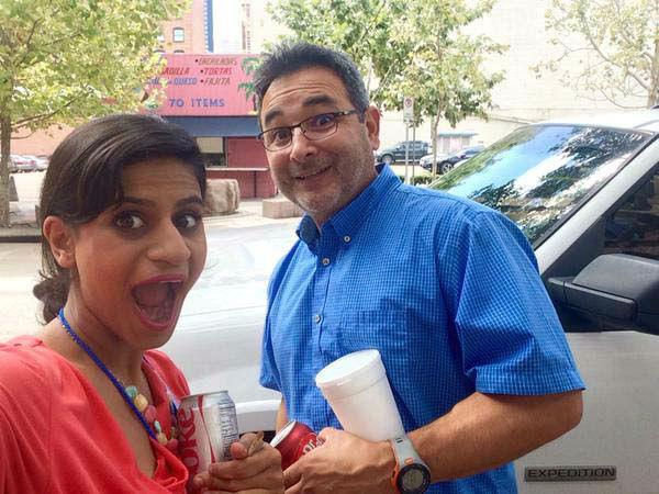 "<div class=""meta image-caption""><div class=""origin-logo origin-image none""><span>none</span></div><span class=""caption-text"">Pooja Lodhia and her photographer Mario grabbing lunch! (KTRK Photo)</span></div>"