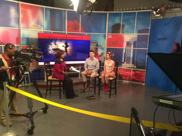 """<div class=""""meta image-caption""""><div class=""""origin-logo origin-image none""""><span>none</span></div><span class=""""caption-text"""">Melanie Lawson interviewing the folks from the Peter Pan show that's in town. (KTRK Photo)</span></div>"""