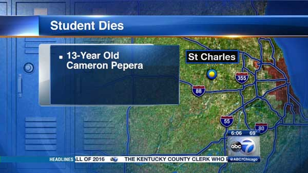 A 13-year-old boy died after he finished a cross country meet in west suburban St. Charles.