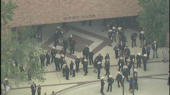 <div class='meta'><div class='origin-logo' data-origin='none'></div><span class='caption-text' data-credit='KTRK Photo'>Outside the Second Baptist Church in Houston ahead of Deputy Darren Goforth's funeral on September 4, 2015.</span></div>