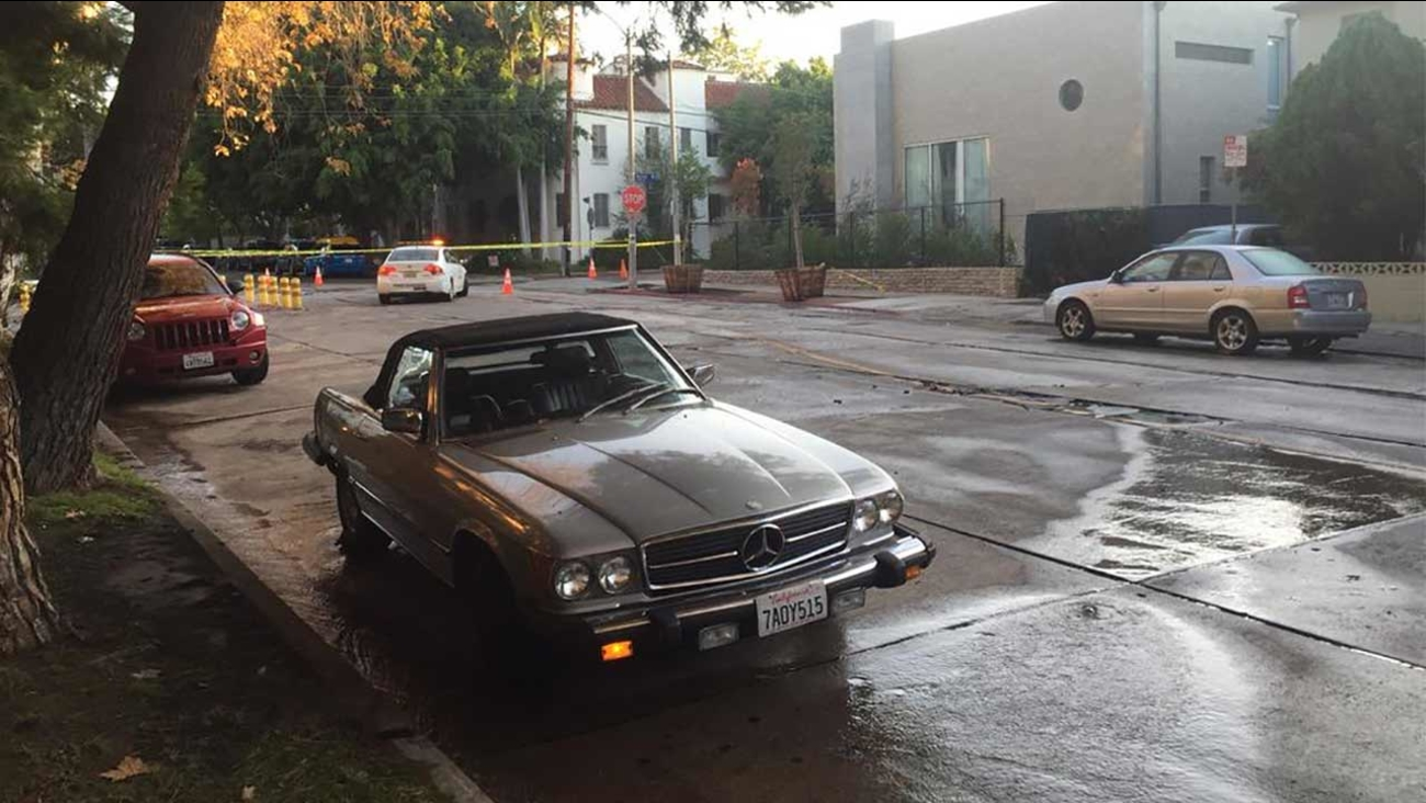 A ruptured, 8-inch water main flooded the area near Waring and Sweetzer avenues in West Hollywood on Sunday, Sept. 6, 2015.