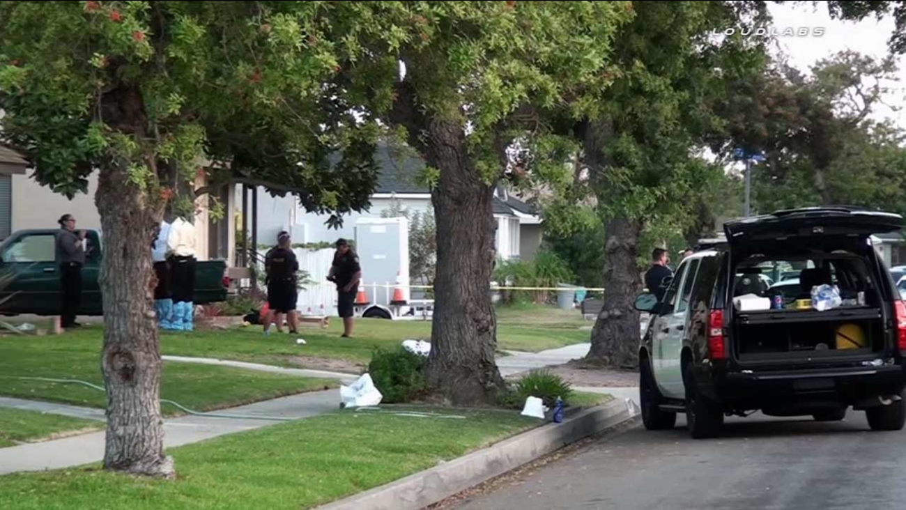 Long Beach police respond to a residence in the 3200 block of Ladoga Avenue on Saturday, Sept. 5, 2015.