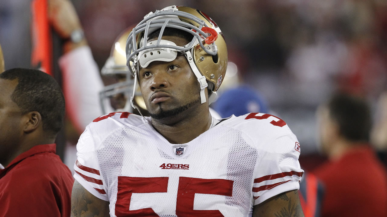 San Francisco 49ers' Ahmad Brooks (55) paces the sidelines during an NFL football game against the Arizona Cardinals Monday, Nov. 29, 2010.