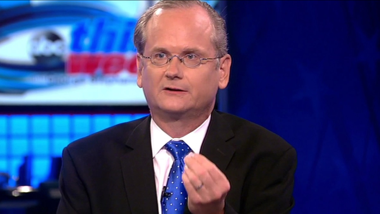 "FILE - Harvard Professor Larry Lessig is interviewed on ABC's ""This Week"" in this undated image."