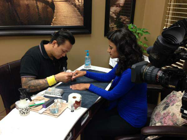 """<div class=""""meta image-caption""""><div class=""""origin-logo origin-image none""""><span>none</span></div><span class=""""caption-text"""">Pooja Lodhia is getting a manicure for one of her stories. This nail artist is in a competition to be named the best in the business. (KTRK Photo)</span></div>"""