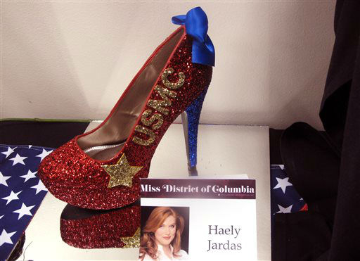 "<div class=""meta image-caption""><div class=""origin-logo origin-image none""><span>none</span></div><span class=""caption-text"">The footwear that Miss District of Columbia will wear in the Miss America pageant's ""Show Us Your Shoes"" parade is on display Tuesday, Sept. 8, 2015 in Atlantic City, N.J. (AP Photo/ Wayne Parry)</span></div>"