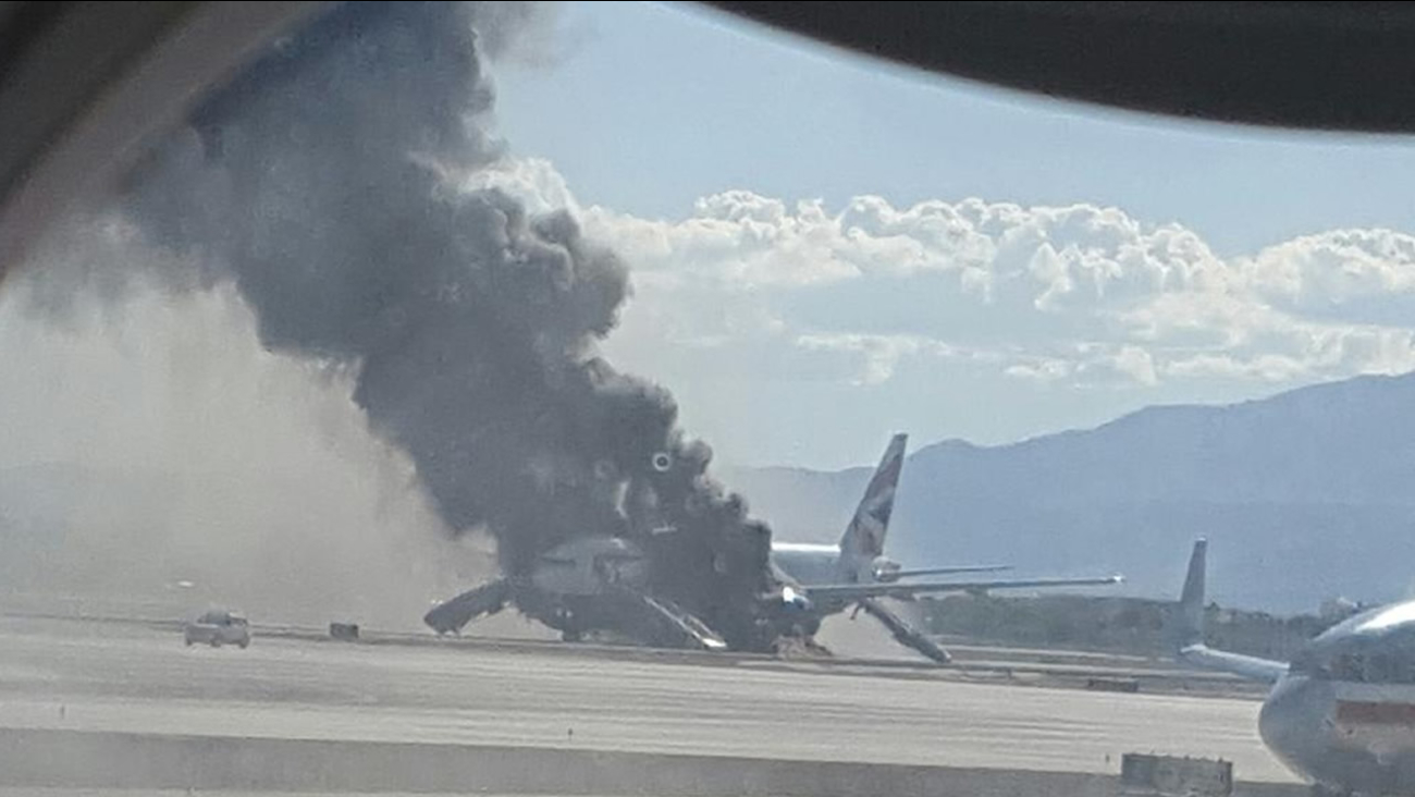 A fire broke out on a British Airways plane in Las Vegas on Tuesday, September 8, 2015.