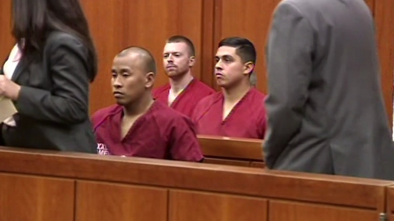 Santa Clara County Correctional Deputies Matthew Farris, Jereh Lubrin, and Rafael Rodriguez made their first court appearance in Santa Clara, Calif. on Tuesday September 8, 2015.