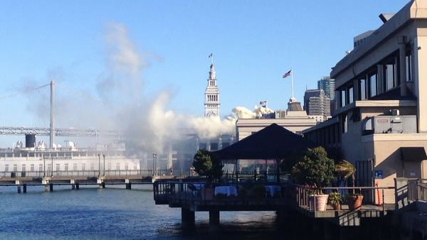 A one-alarm flue fire broke out at a restaurant at San Francisco's Pier 5 on Tuesday, September 8, 2015.
