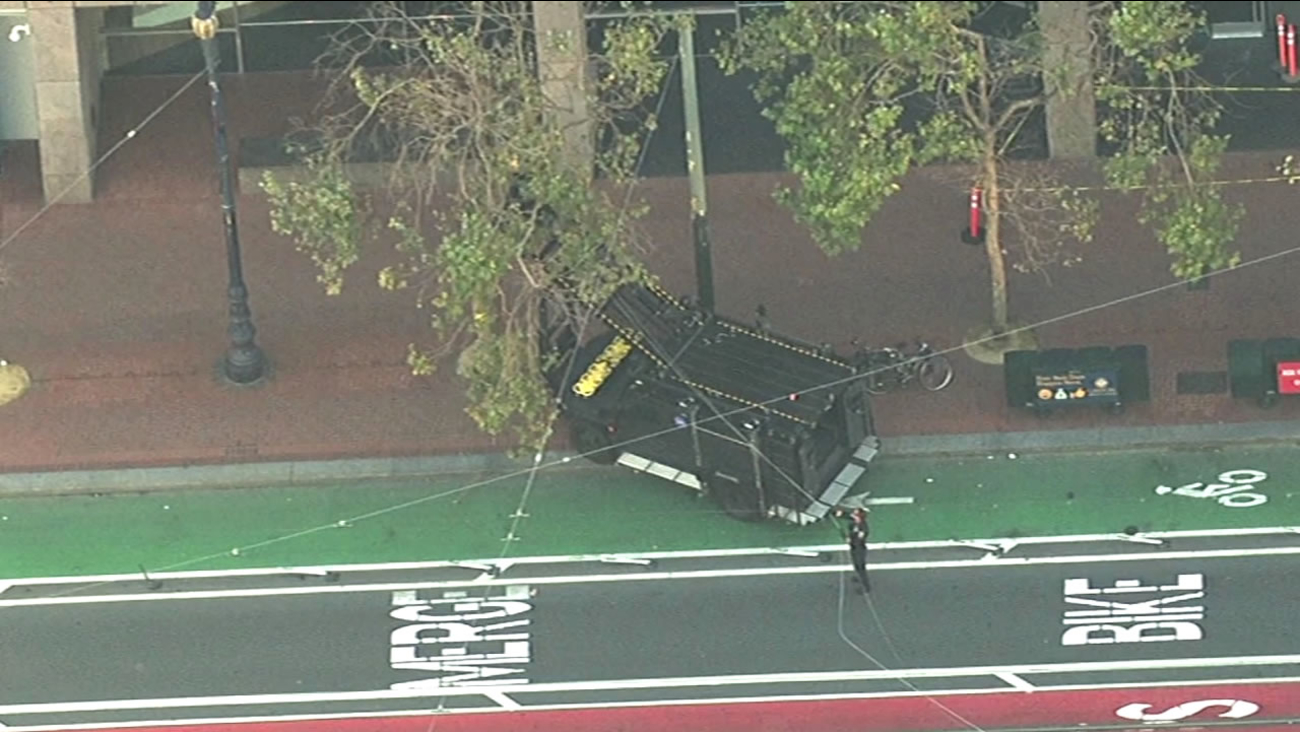 The bomb squad is investigating a suspicious package outside Twitter headquarters in San Francisco on Wednesday, September 9, 2015.