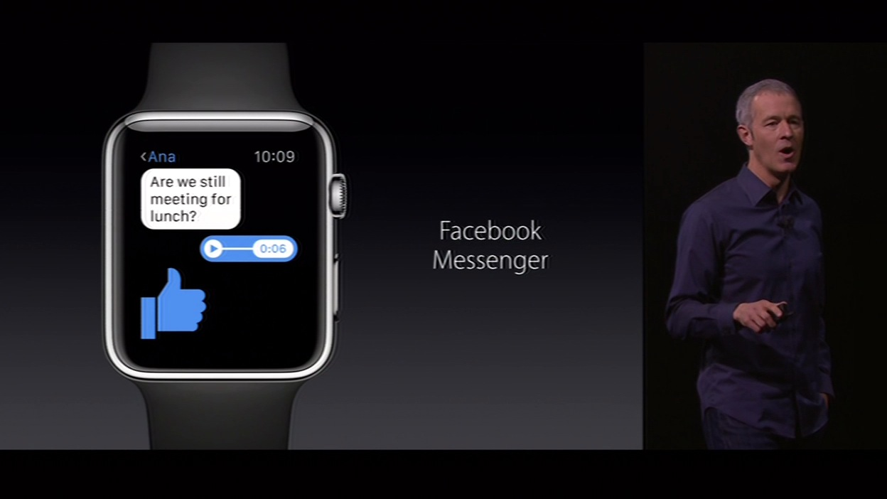 "<div class=""meta image-caption""><div class=""origin-logo origin-image none""><span>none</span></div><span class=""caption-text"">The new Apple Watch is compatible with Facebook's Messenger, as revealed on Wednesday, September 9, 2015, at the #AppleEvent in San Francisco. (KGO-TV)</span></div>"