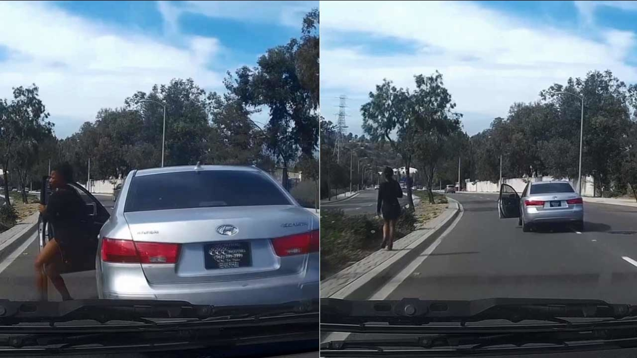 A woman jumped out of her moving vehicle while driving in Rowland Heights and let it roll into opposing traffic for reasons unknown.