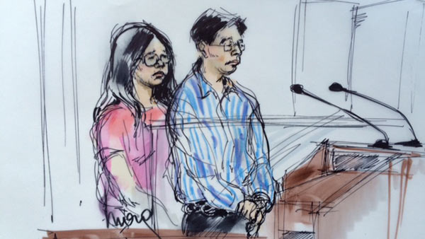 Jason Shiao and Lynn Leung make their first court appearance in Downtown Los Angeles on Wednesday, Sept. 10, 2015.