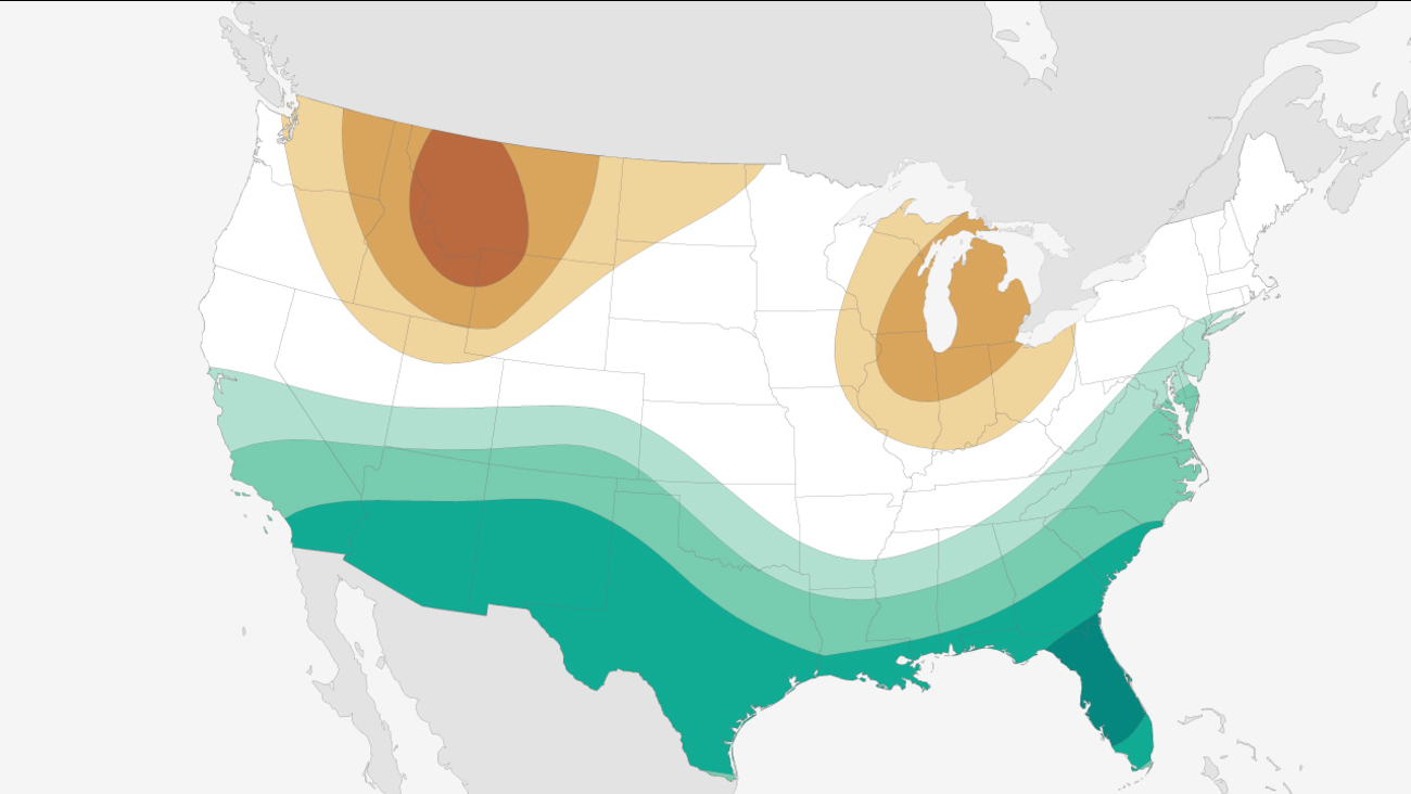 This map from NOAA shows the El Nino precipitation outlook for December 2015 to February 2016.