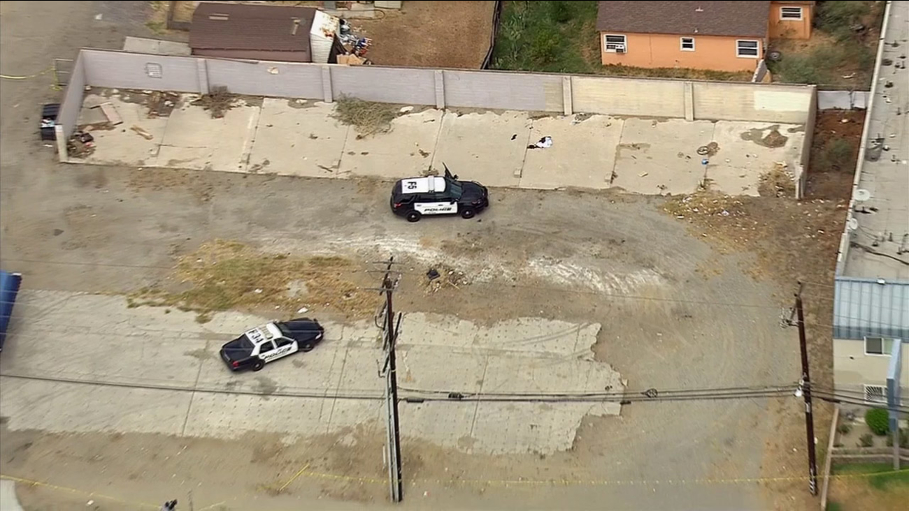 Police investigate an officer-involved shooting in Fontana on Thursday, Sept. 10, 2015.
