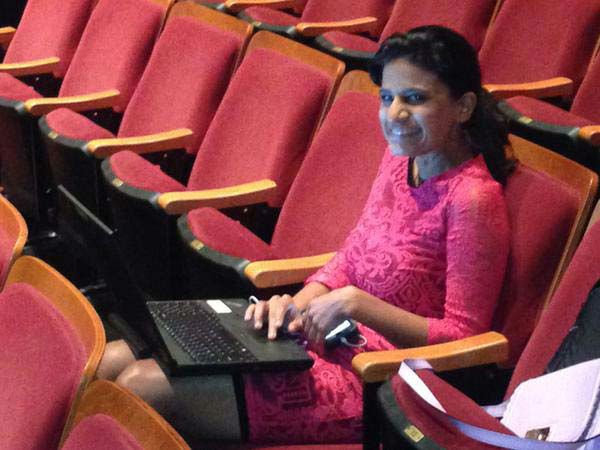 """<div class=""""meta image-caption""""><div class=""""origin-logo origin-image none""""><span>none</span></div><span class=""""caption-text"""">Pooja watching the Mayoral Debate from the audience (KTRK Photo)</span></div>"""