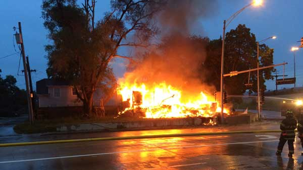 Firefighters found a home fully engulfed by flames in south suburban Harvey.