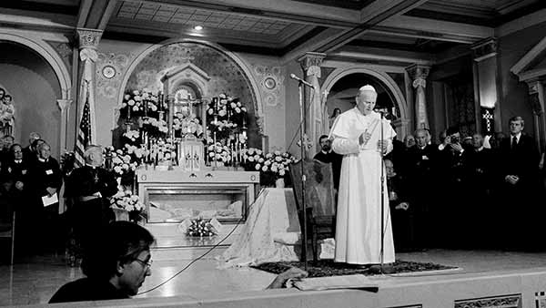 """<div class=""""meta image-caption""""><div class=""""origin-logo origin-image ap""""><span>AP</span></div><span class=""""caption-text"""">Pope John Paul II speaks to a small crowd at the St. Peter the Apostle Church in Philadelphia, Pa., Oct. 4, 1979. (Rusty Kennedy)</span></div>"""