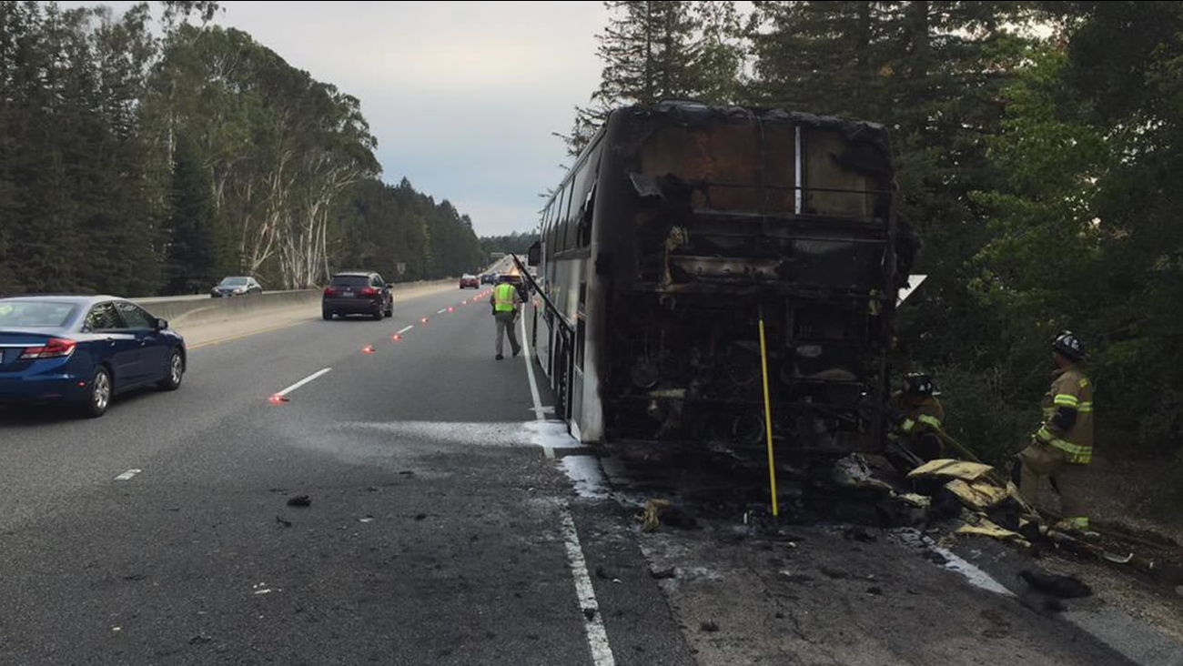 The CHP says no children were injured when their tour bus caught fire on Highway 17 in Scotts Valley, Calif. on Friday, September 11, 2015.