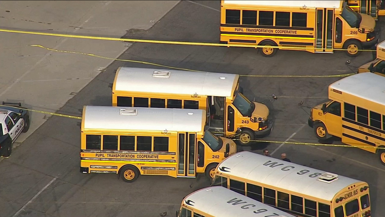 Authorities cordoned off a special-needs school bus where a 19-year-old student was found unresponsive in Whittier on Friday, Sept. 11, 2015.