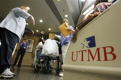 <div class='meta'><div class='origin-logo' data-origin='none'></div><span class='caption-text' data-credit='AP Photo/ David J. Phillip'>In this Thursday, Sept. 11, 2008 picture, University of Texas Medical Branch patients are evacuated as Hurricane Ike approaches Galveston, Texas.</span></div>