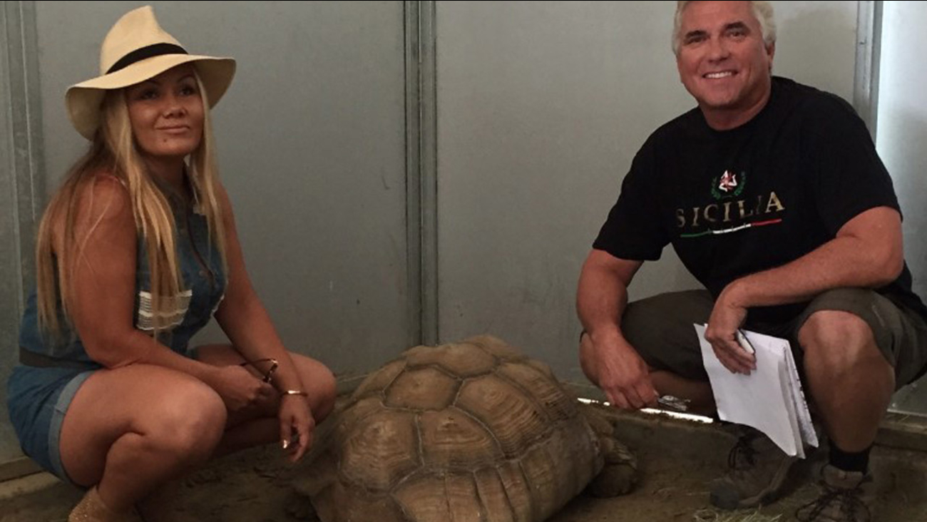 Vince Tarantino smiles after being reunited with his pet Tortoise at the San Jacinto Valley Animal Campus on Saturday, Sept. 12, 2015.