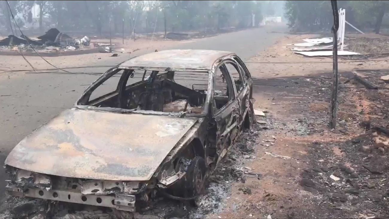 A car that was destroyed in the Valley Fire that's burning in Lake County and Napa County is seen on Sunday, September 13, 2015.