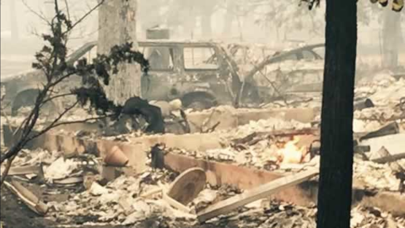 The Valley Fire burning in Lake and Napa counties destroyed this home in Middletown, Calif. on Sunday, September 13, 2015.