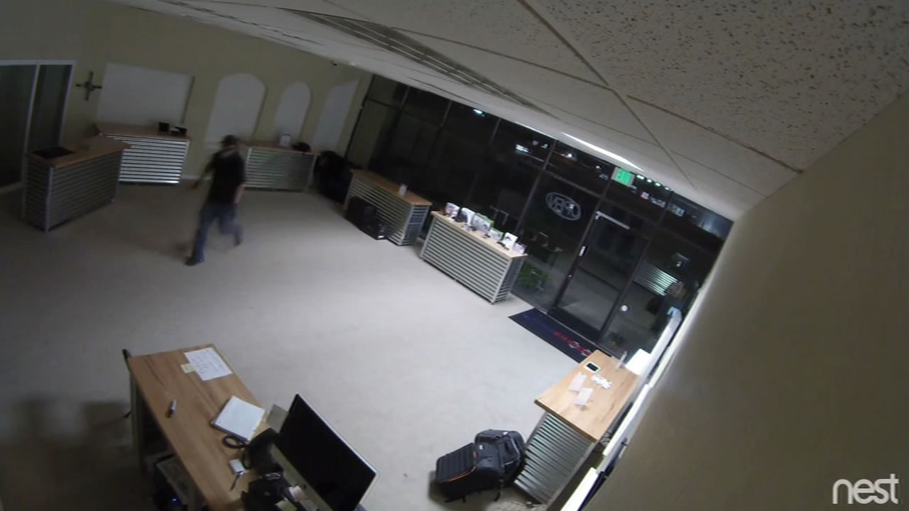 Two burglars were caught on camera robbing a drone store in Santa Clara, Calif. Monday, September 14, 2015.