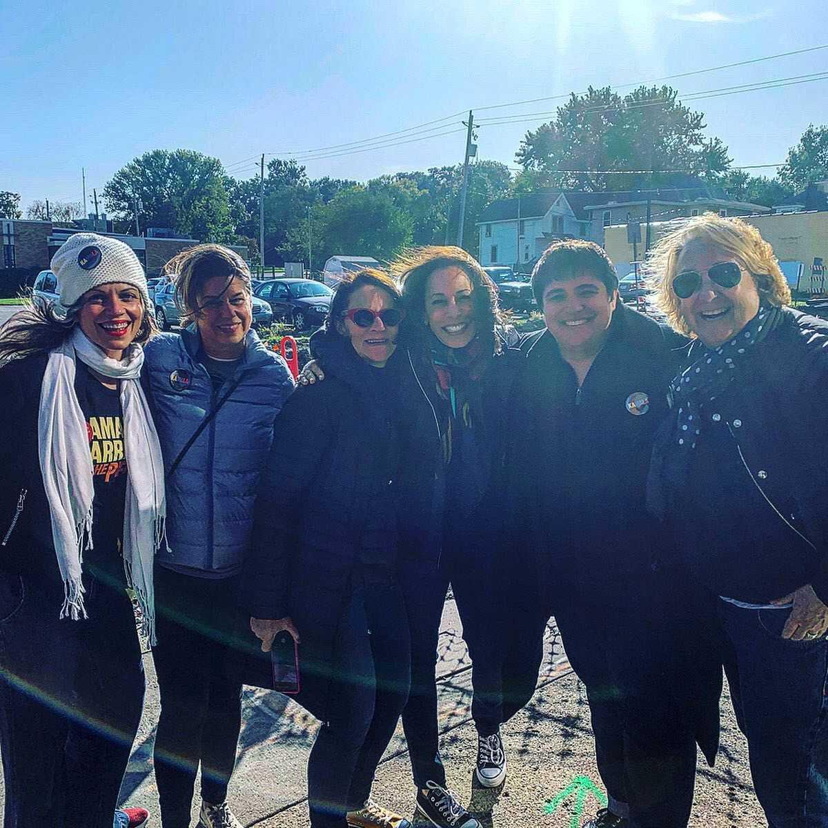 Undated photo of Heidi Seick, Debbie Mesloh, Joyce Newstat, Kamala Harris, Rebecca Prozan and Susan Lowenberg in Iowa.